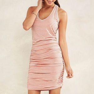 Athleta Striped Tee Racerback Ruched Dress Coral